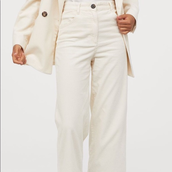 White Corduroy Wide Leg Pants